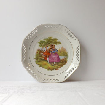 ON SALE - Courting Couple Plate, Vintage Schwarzenhammer Fragonard Dish, Romantic Home Decor, Reticulated Rim