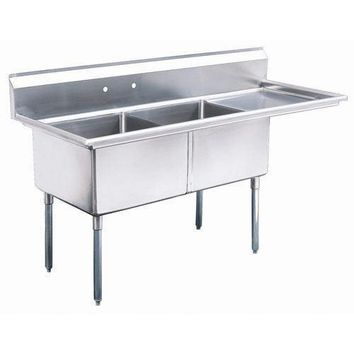 "Stainless Steel 2 Compartment Sink 63"" x 26"" with 20"" Right Drainboard"