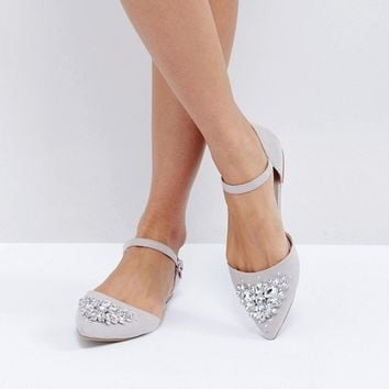 New Look Jewelled 2 Part Pointed Flat Shoe at asos.com