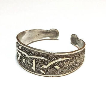 Middle Eastern Calligraphy Bracelet, Sterling Filigree Cuff, Oxidized Sterling, Depose Middle Eastern Jewelry, Vintage Jewelry