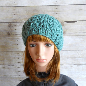 Chunky Teal Beret, Handknit Hat in Deep Seaglass, Lacy Winter Hat, Chunky Beanie, Teal Beanie in Lace Pattern, Womens Winter Beret