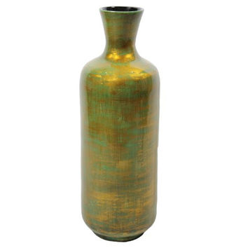 Essential Décor Entrada Collection Lacquer Bamboo Vase with Antique Copper Green Accent, 21.25 by 7.08-Inch