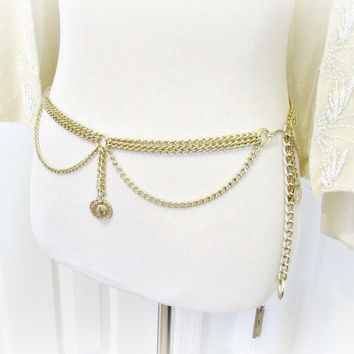 Vintage Womens Belt, Chunky Gold Metal Chain Belt, Multi-Strand Gold Coin Belt, 70s Chain Link Belt, 1960s Hippie Disco Fashion Accessory