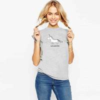 Fashion Unicorn print Scoop Short Sleeves Casual Loose T-shirt