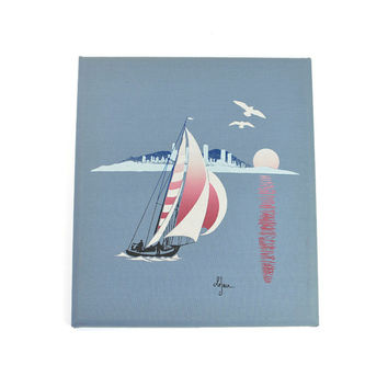 Nautical Sailboat Screen Print Wall Art, Signed Le'Jean - Marushka Style Modern in Red, White & Blue - Cottage Chic - Vintage Home Decor