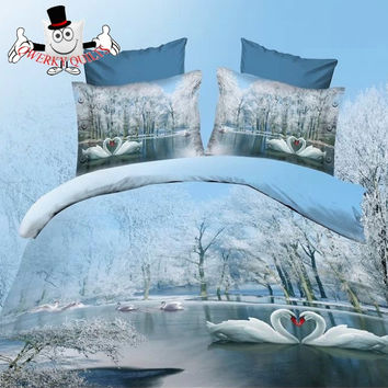 3D Bed Set Skyblue Lake Snow Swan Bedding Set and Quilt Cover