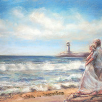 "Seascape romantic couple beach, seashore, print original painting Personalized ""Love Letters In The Sand"" digital remake"