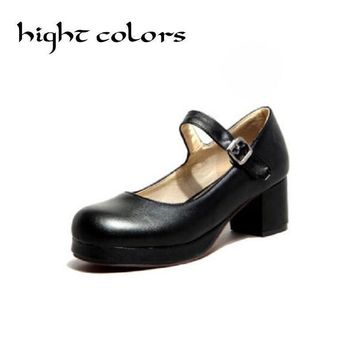 2017 New Ladies Sweet Black Candy Color Womens Mary Janes Pumps Low Heel Lolita Bowkno
