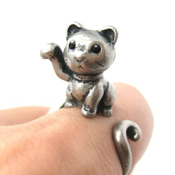 Fortune Kitty Cat Animal Wrap Around Ring in Silver - Sizes 4 to 9 Available