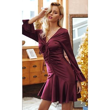 Always A Flirt Satin Long Flare Sleeve V Neck Ruched Mini Dress - 2 Colors Available