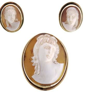 Rare Vintage Victorian Tortoise Shell Cameo Brooch & Earrings  14K