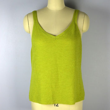 Eileen Fisher Sweater Tank Green Italian Wool Large
