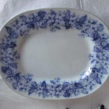 Rare Flow Blue Serving Platter Flow Blue Platters Orange Border Orange Blossom Pattern Blue and White China Flow Blue Decor Fine China