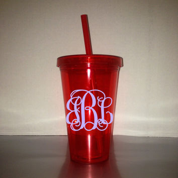 Monogrammed 17.5 oz / 18 oz Tumblers - Color Tumbler - With Matching Lid & Straw -  Red Tumbler - BPA free - Many monogram color choices!