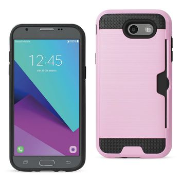 New Emerge Slim Armor Hybrid Case Card Holder In Pink For Samsung Galaxy J3