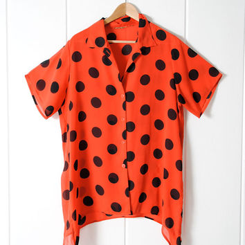 SALE . 50% OFF . Dock Yard Top . Red Polka Dot . 80s Slouchy Top