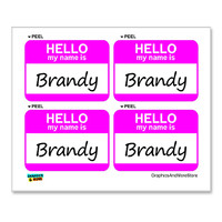 Brandy Hello My Name Is - Sheet of 4 Stickers