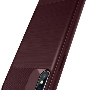 VONEXO9 Caseology Vault Series Case Designed for iPhone X with Thin Non Bulky Coverage and Shock Absorbent Drop Protection for Apple iPhone X / iPhone 10 - Burgundy