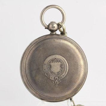 1898 Sterling Silver Antique Pocket Watch Working Vintage Irving Oil Key Wound