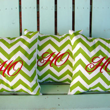 "Sale Set of 3 14"" X 14"" Christmas green chevron print Ho Ho Ho embroidered Christmas- pillow cover-gifts under 50-throw pillow-accent pillow"