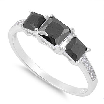 925 Sterling Silver CZ Three Stones Center Princess Cut Black Ring 6MM