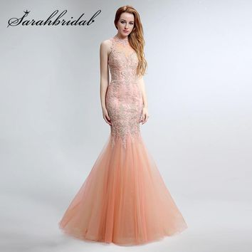 Lace Blush Mermaid Evening Dresses with Embroidery High Neck Zipper Back Designer Party Prom Gowns Sweep Train LX153