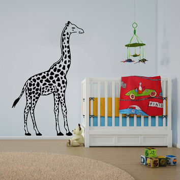 Wall Decal Vinyl Sticker Decals Art Home Decor Design Mural Giraffe Animals Jungle Safari African Kids Children Nursery Baby Bathroom AN55