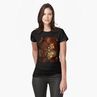 'Funny steampunk skeleton, clocks and gears' T-Shirt by nicky2342