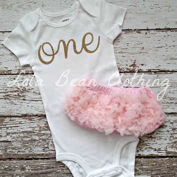 Baby Girl Baby Girl 1st Birthday Outfit Photography Props Gold One Onesuit Light Pink Bloomers Gold Cake Smash Outfit