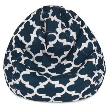 Navy Trellis Small Classic Bean Bag