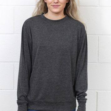 Basic Hacci Rib Long Sleeve {Black}