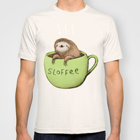 White Unisex Sloffee T-Shirt for Lovers of All Things Sloth