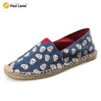 2016 Summer Men's Women's Casual Canvas Loafers Natural Jute Insole Flat Shoes Skull Print Breathable Espadrilles Canvas Custom