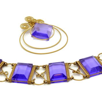 Purple Lucite Panel Bracelet and Pin