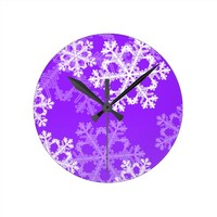 Cute purple and white Christmas snowflakes Round Wallclock