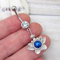 Antique silver lotus flower belly button rings,  lotus flower belly button jewelry,  flower navel jewelry, unique gift