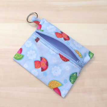 Keyring coin purse. Blue cotton zippered purse. Flowers and colourful mushroom design