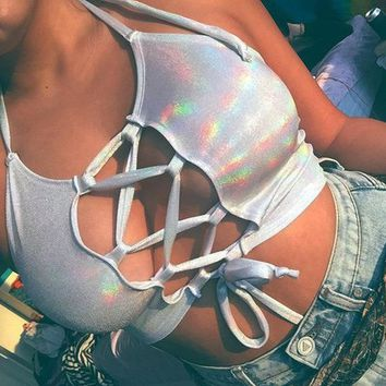Shimmer Holographic Crop Top
