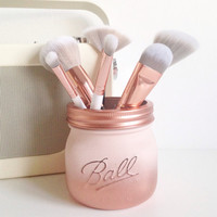 Painted Ball mason jar in blush pink and copper ombre - desk decor, pen pot, makeup brush holder, wedding centrepiece