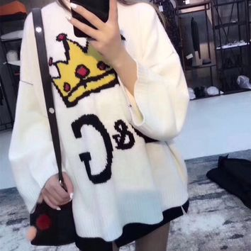 """D&G"" Women Casual Fashion Letter Crown Pattern Long Sleeve Knitwear Sweater Loose Tops"