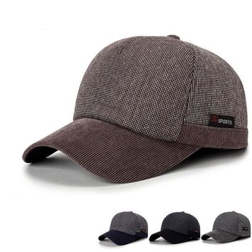 Warm Winter Thickened Knitted Baseball Cap With Ears Men's Cotton Hat Snapback Ear Flaps For Men