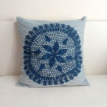 Lace pillow cover, throw pillow, handmade pillow, crochet lace and fabric