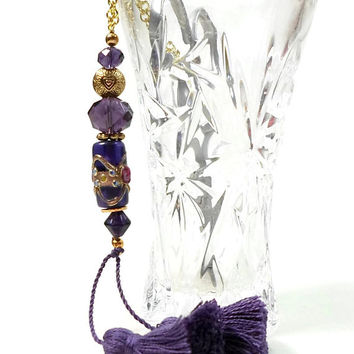 Victorian Royal Purple Scissor Fob, Gold, Beaded  Key Fob, Needlepoint, Quilting Tool, Sewing Accessory, Cross Stitch, Scissor Minder