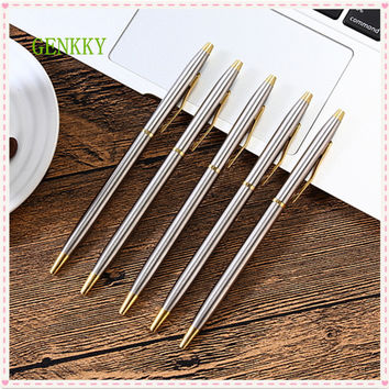 1pcs/lot New arrival stainless steel rod rotating metal ballpoint pen commercial ballpoint pen gift stationery free shipping