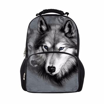 FORUDESIGNS Cool Children 3D Animal Felt Backpack Men's Backpack Wolf Printing Bag School Girls College Student Bagpack Retail