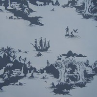 Peter Pan Wallpaper (Charcoal on Pale Grey) from Emma Molony | Made By Emma Molony | £65.00 | Bouf