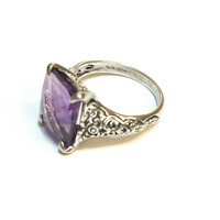 Art Deco Style Sterling Silver Ring, Amethyst, Filigree, Ornate, Gemstone, Stamped, Size 6