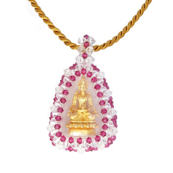 Buddha Necklace 01 - Solid Genuine 18K Gold Macrame