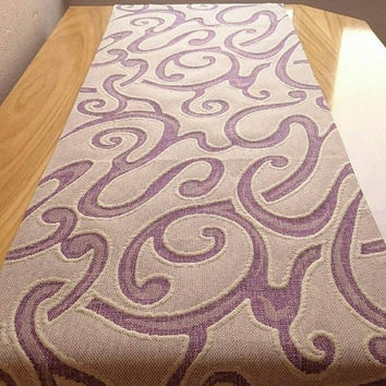 New! Purple Outdoor Table Runner,Garden Decor, Decorative Table Runner, Easy Clean Table Cover, Handmade Tablecloth, Embossed Table Runner
