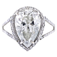 Pear Shaped Diamond Halo Style Pave Engagement Ring